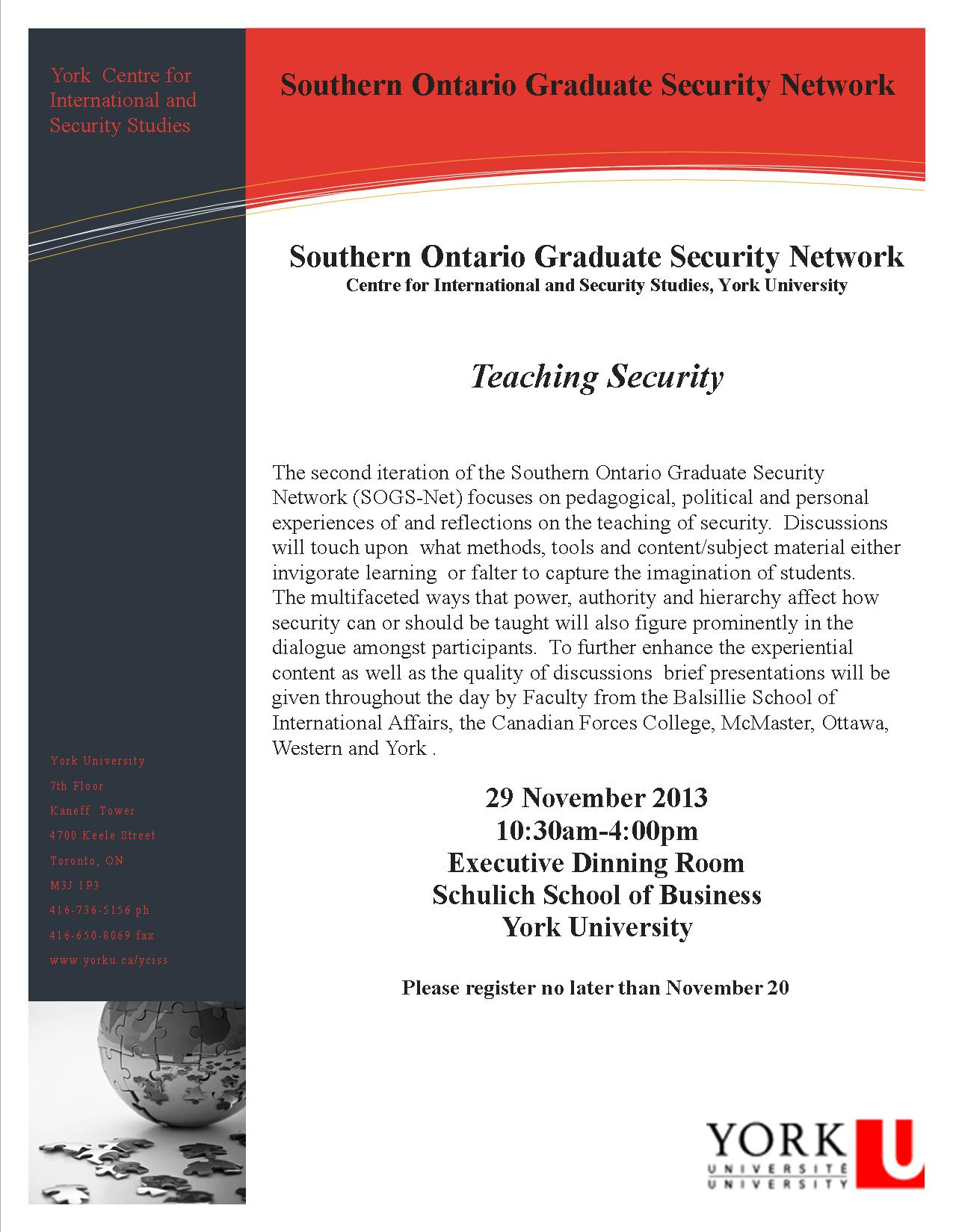 SOGS-Net: Teaching Security @ Schulich Executive Dining Room | Toronto | Ontario | Canada