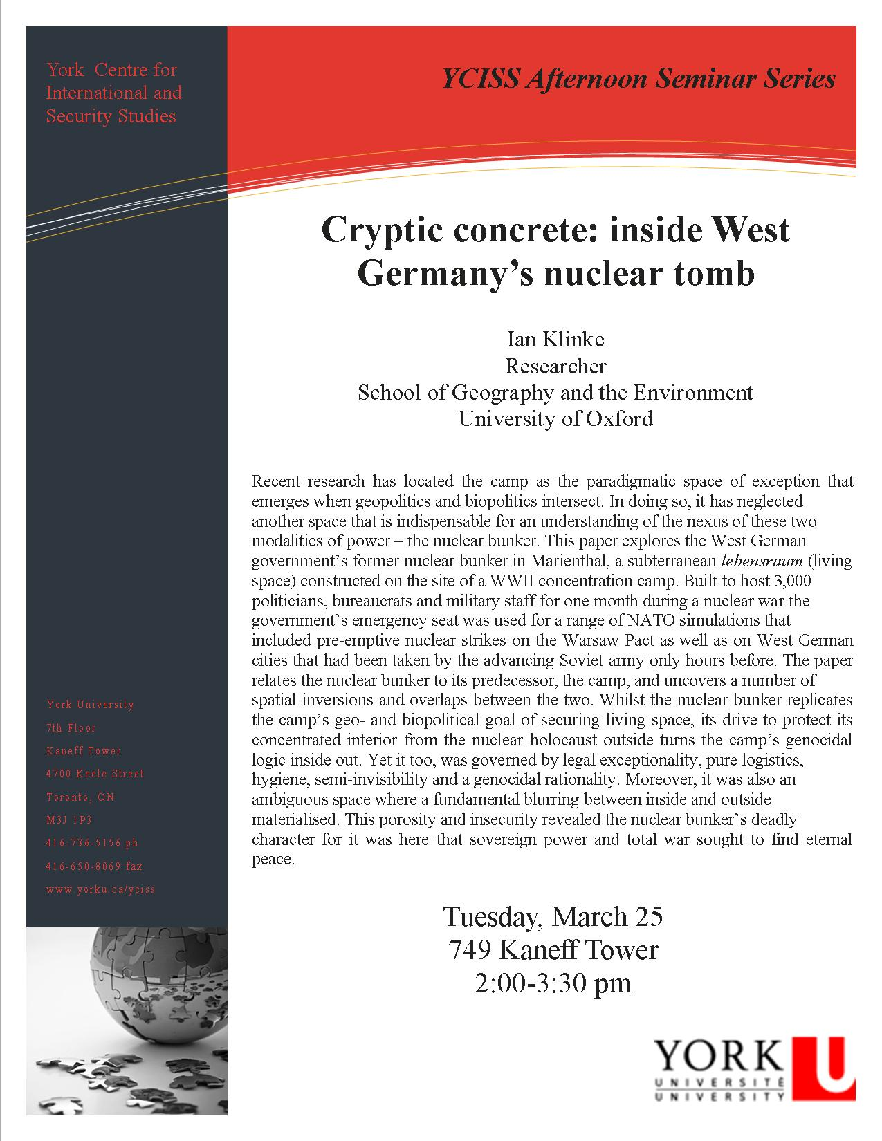 Cryptic concrete: inside West  Germany's nuclear tomb  @ 749 Kaneff Tower