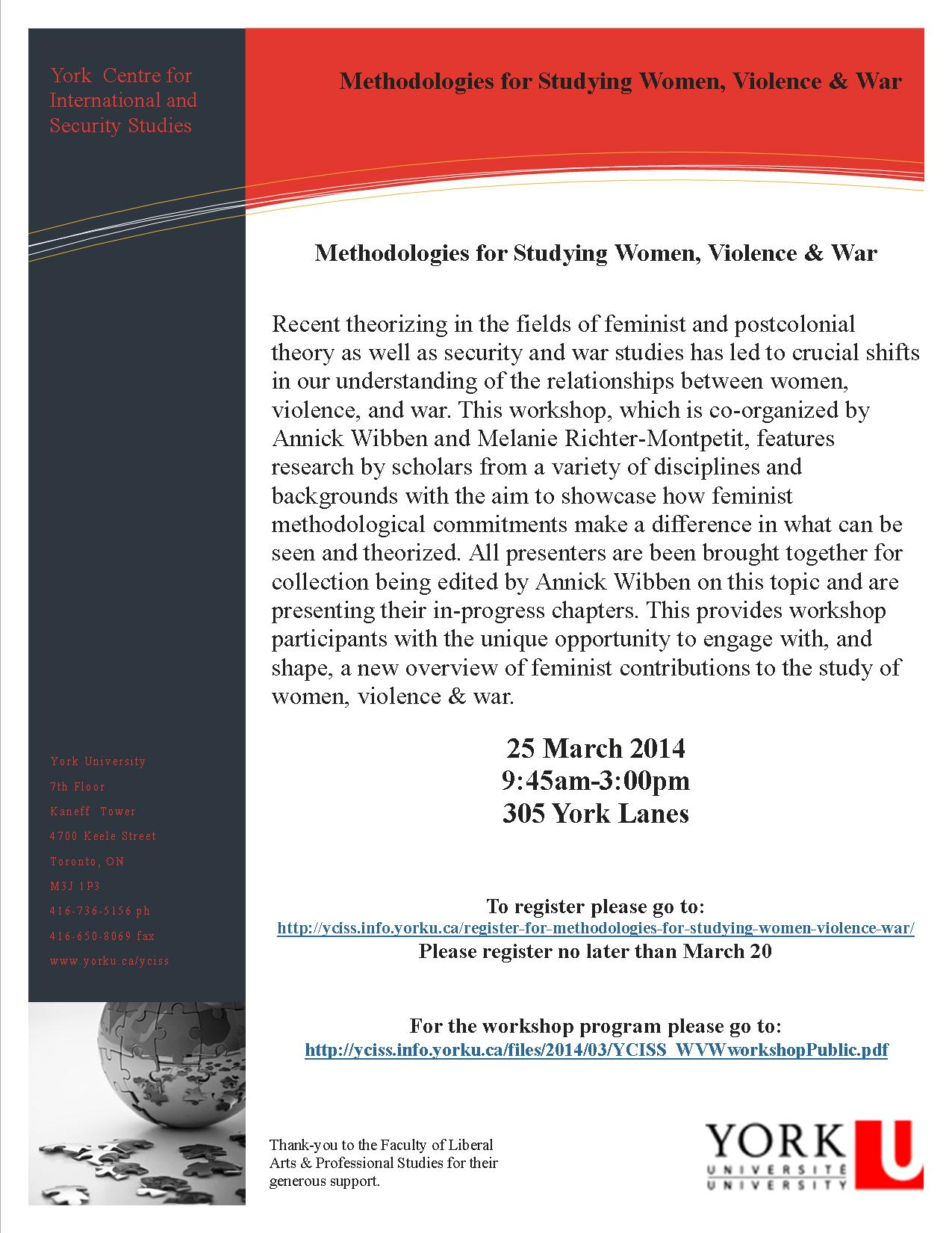 Methodologies for Studying Women, Violence & War  @ 305 York Lanes