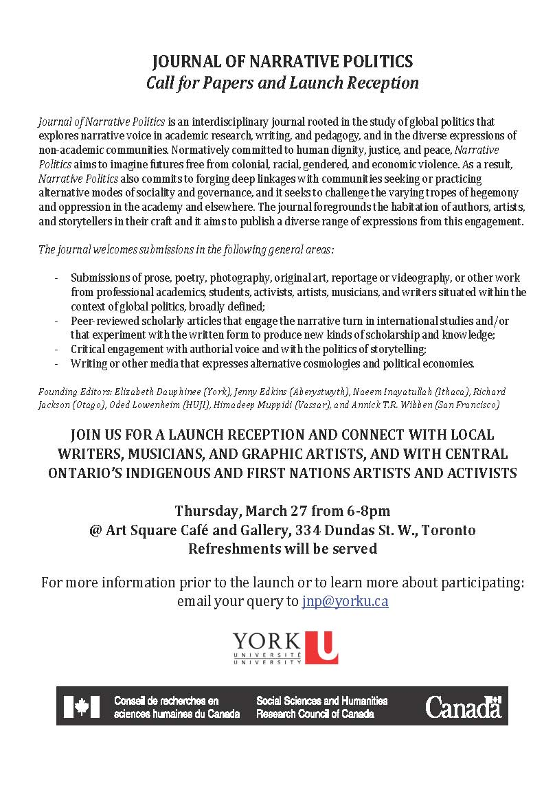 JOURNAL OF NARRATIVE POLITICS @ Art Square Café and Gallery | Toronto | Ontario | Canada